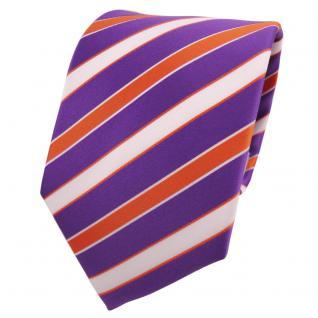 TigerTie Designer Krawatte lila violett orange weiß gestreift - Binder Tie