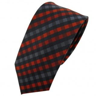 Schmale TigerTie Krawatte orange anthrazit schwarz kariert - Schlips Tie