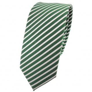 Schmale TigerTie Satin Krawatte grün smaragdgrün silber weiß gestreift - Binder
