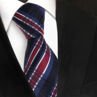 TigerTie Seidenkrawatte blau royal rot silber gestreift - Krawatte Seide Binder