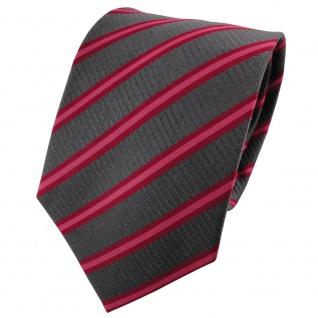 TigerTie Seidenkrawatte rot erdbeerrot anthrazit gestreift - Krawatte Seide