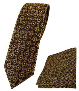 schmale TigerTie Krawatte + Einstecktuch in gold rosa silber schwarz gemustert
