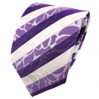 TigerTie Seidenkrawatte lila blaulila weiß gestreift - Krawatte Seide Binder
