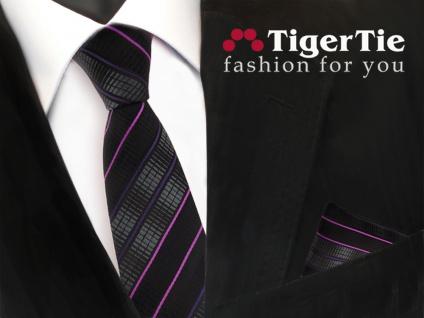 schmale TigerTie Krawatte +Einstecktuch schwarz anthrazit magenta lila gestreift