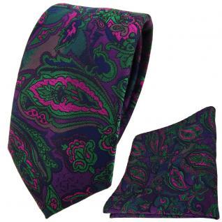schmale TigerTie Krawatte + Einstecktuch lila grün marine pink Paisley gemustert