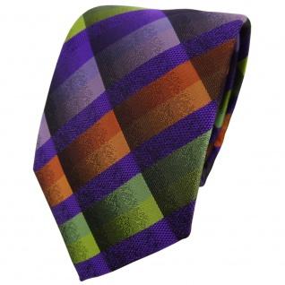 TigerTie Designer Krawatte in lila flieder orange grün gelb kariert - Binder Tie