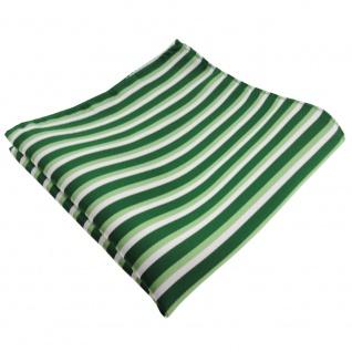 TigerTie Einstecktuch in grün hellgrün silber gestreift - 100% Polyester