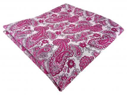 TigerTie Designer Einstecktuch magenta silber Paisley gemustert - Gr. 30 x 30 cm