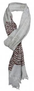 TigerTie Schal in grau dunkelbraun gemustert mit kleinen Fransen - 100% Modal