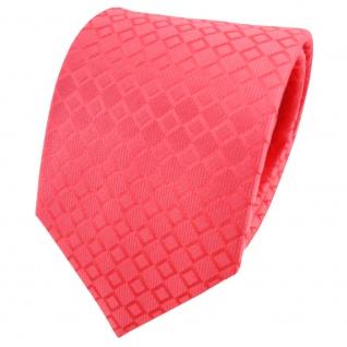 TigerTie Designer Seidenkrawatte rot rosé kariert - Krawatte Seide Binder Tie