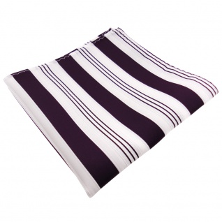 TigerTie Einstecktuch lila dunkellila weiß silber gestreift - 100% Polyester