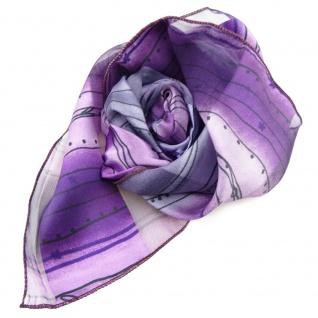 Feines Damen Satin Nickituch lila violett schwarz gestreift- Tuch Halstuch Schal