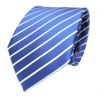 TigerTie Designer Krawatte blau hellblau azurblau weiß gestreift