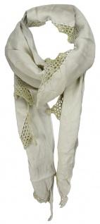 TigerTie Dreieckstuch in beige Uni mit Häkelrand - Tuch Gr. 170 x 80 cm