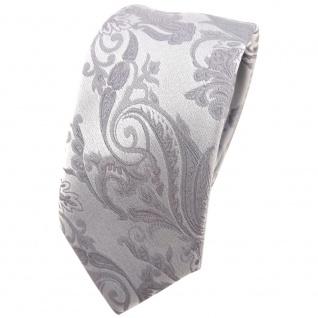 schmale Hochzeit Seidenkrawatte silber Paisley Uni - Krawatte 100% Seide