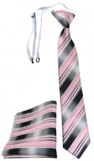 TigerTie Kinderkrawatte + Einstecktuch rosa hellrosa silber anthrazit gestreift