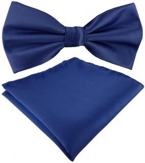 TigerTie Satin Fliege + Einstecktuch in blau royal Uni einfarbig + Geschenkbox