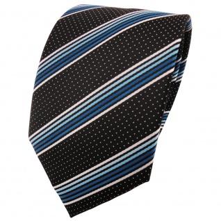 schöne TigerTie Krawatte in türkis blau silberweiss schwarz gestreift - Binder