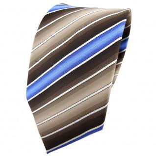 TigerTie Krawatte braun beigebraun blau creme gestreift - Binder Tie