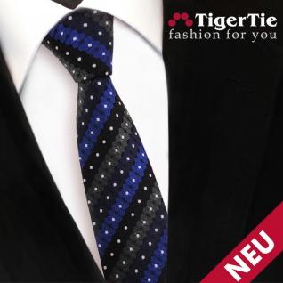 Schmale TigerTie Krawatte blau schwarz anthrazit silber gestreift - Binder Tie - Vorschau 3