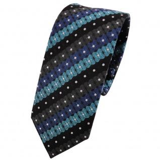 Schmale TigerTie Krawatte türkis blau schwarz anthrazit silber gestreift- Binder