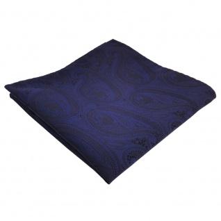 TigerTie Einstecktuch dunkelblau marine schwarz paisley - Tuch Polyester