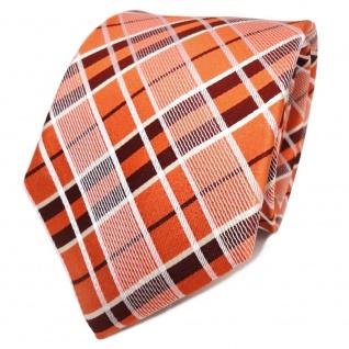 TigerTie Designer Seidenkrawatte orange weiß kariert - Krawatte Seide