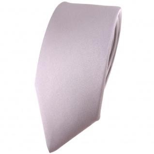 schmale TigerTie Satin Seidenkrawatte silber grau einfarbig - Krawatte Seide