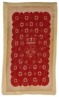 Ziertuch in Seide mit stabiler Einlage - 2er Set Spielkarten beige rot gemustert - Vorschau 3