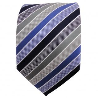 TigerTie Designer Krawatte blau dunkelblau grau silber gestreift - Binder Tie - Vorschau 2