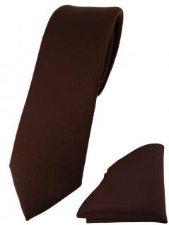 schmale TigerTie Designer Krawatte + Einstecktuch in dunkelbraun einfarbig uni