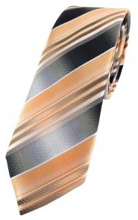 schmale TigerTie Designer Krawatte lachs orange silber anthrazit grau gestreift