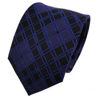 TigerTie Seidenkrawatte blau dunkelblau marine schwarz kariert - Krawatte Seide
