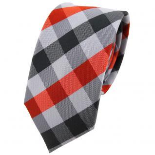 Schmale TigerTie Designer Krawatte in orange grau kariert - Schlips Tie Binder