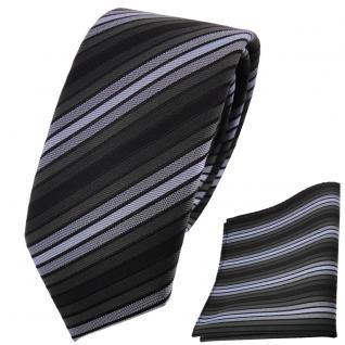 schmale TigerTie Krawatte + Einstecktuch blau anthrazit schwarz gestreift