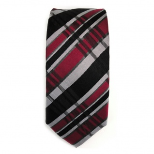 schmale TigerTie Seidenkrawatte schwarz rot grau silber kariert - Krawatte Seide - Vorschau 2