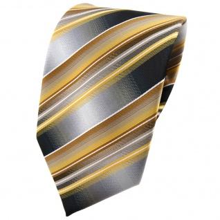 TigerTie Krawatte gold gelb silber anthrazit grau gestreift - Tie Binder