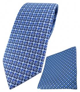 TigerTie Krawatte + Einstecktuch in blau silber schwarz gemustert