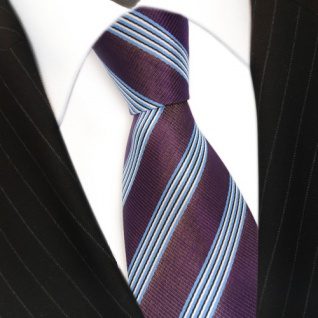 Krawatte - Schlips Binder lila violett blau schwarz weiss gestreift - Tie - Vorschau 3