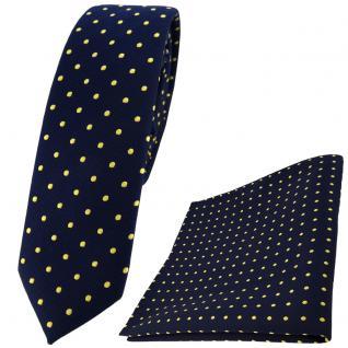 schmale TigerTie Krawatte + Einstecktuch blau dunkelblau marine gold gepunktet