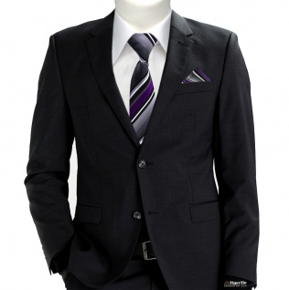 TigerTie Sicherheits Krawatte + Einstecktuch in lila silber grau weiss gestreift - Vorschau 2