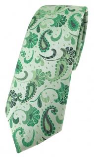 schmale TigerTie Designer Krawatte in grün grasgrün anthrazit Paisley gemustert - Vorschau 1