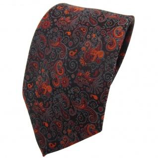 TigerTie Krawatte orange braun schwarz grau gemustert Paisley - Binder Tie