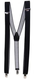 schmaler Hosenträger in schwarz Uni mit Clip - verstellbar 75 bis 120 cm