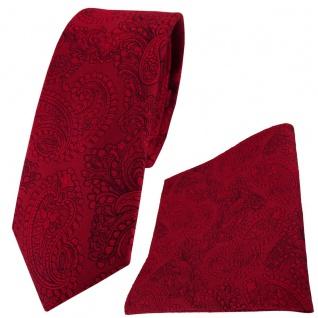 schmale TigerTie Seidenkrawatte + Einstecktuch in rot feuerrot schwarz Paisley