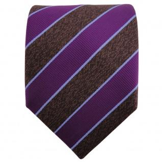 TigerTie Satin Krawatte lila braun dunkelbraun blau gestreift - Binder Schlips - Vorschau 2
