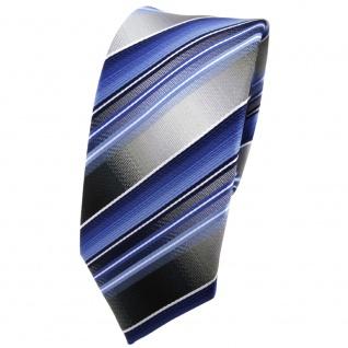 schmale TigerTie Krawatte blau hellblau silber anthrazit gestreift - Tie Binder