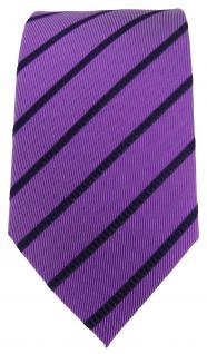 TigerTie Designer Seidenkrawatte lila violett blau gestreift - 100% Seide - Vorschau 2