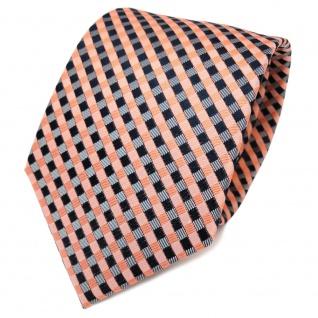 TigerTie Designer Seidenkrawatte orange lachs royal grau kariert- Krawatte Seide