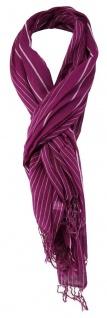 TigerTie Schal in magenta silbergrau gestreift - Gr. 180 x 60 cm